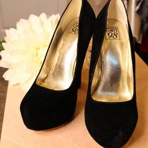Velvety Black High Heel Pumps
